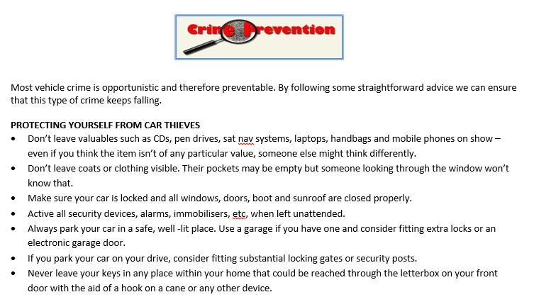 Car Crime prevention