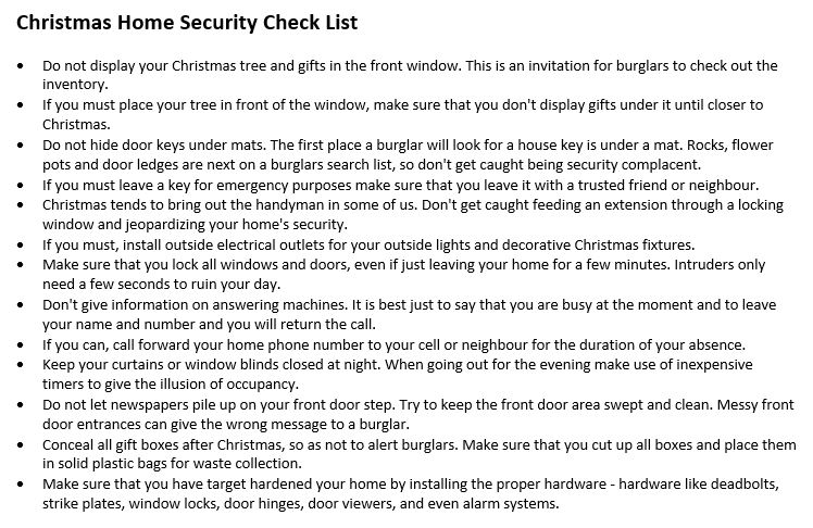 Christmas Home Security Check List