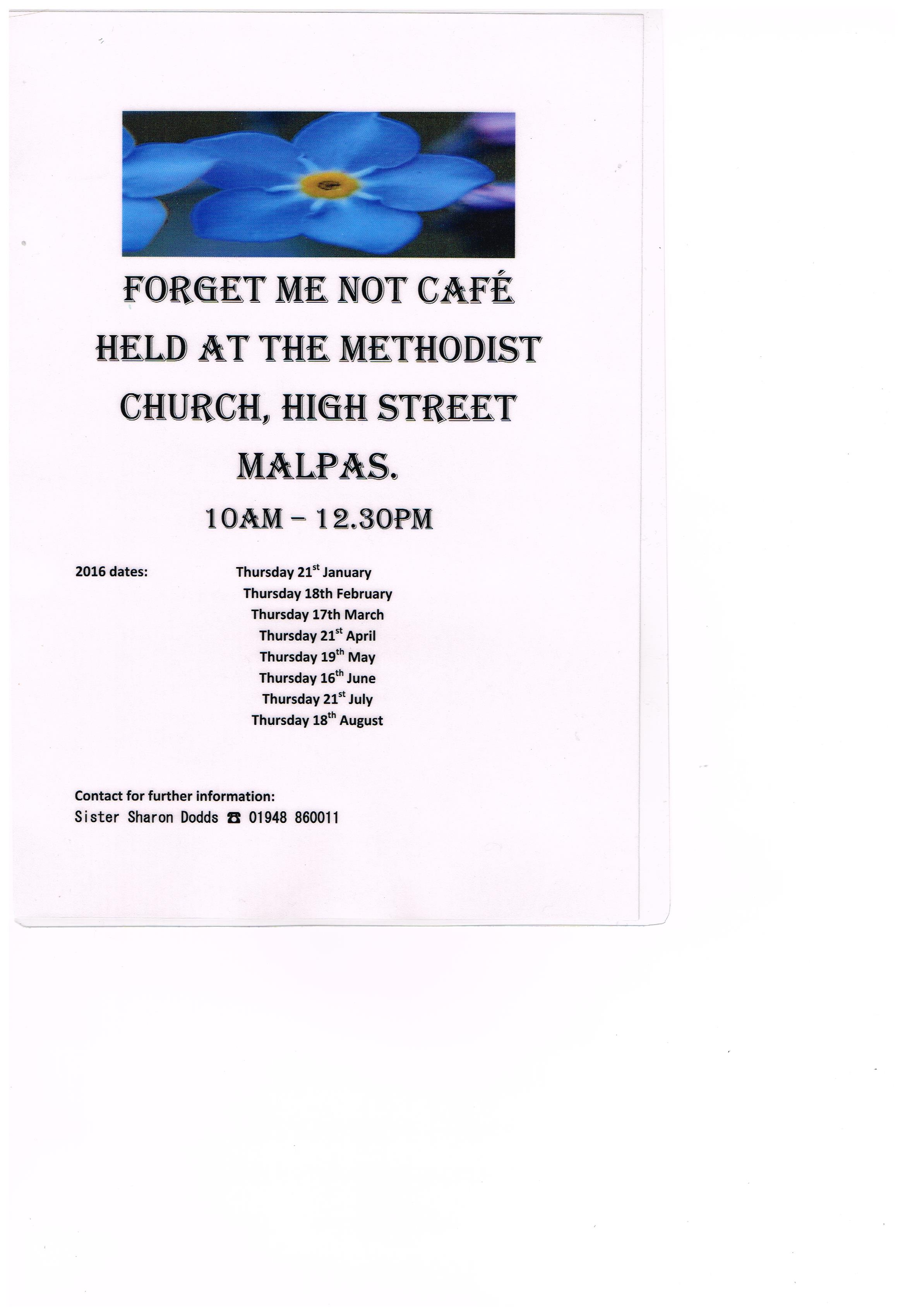 FORGET ME NOT CAFE 2016 DATES