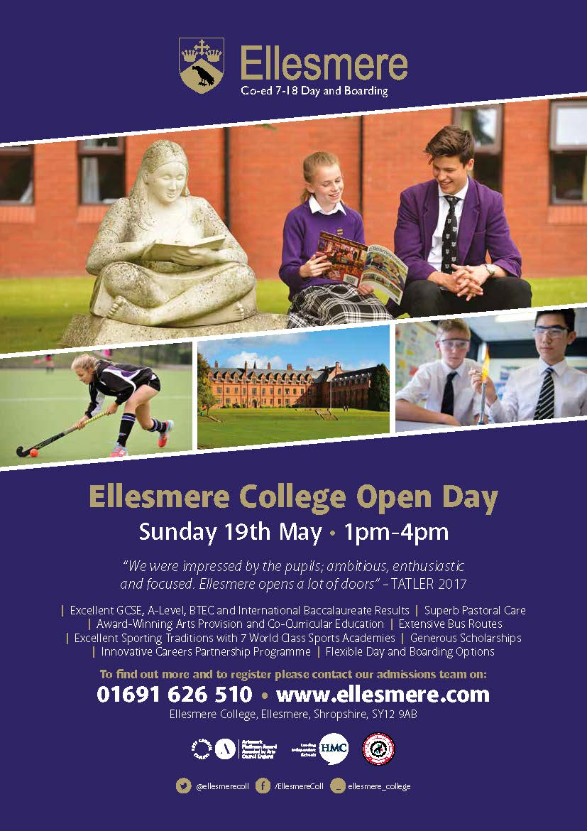 Image: 4230 Ellesmere May 2019 Open Day Advert A4  Low Res