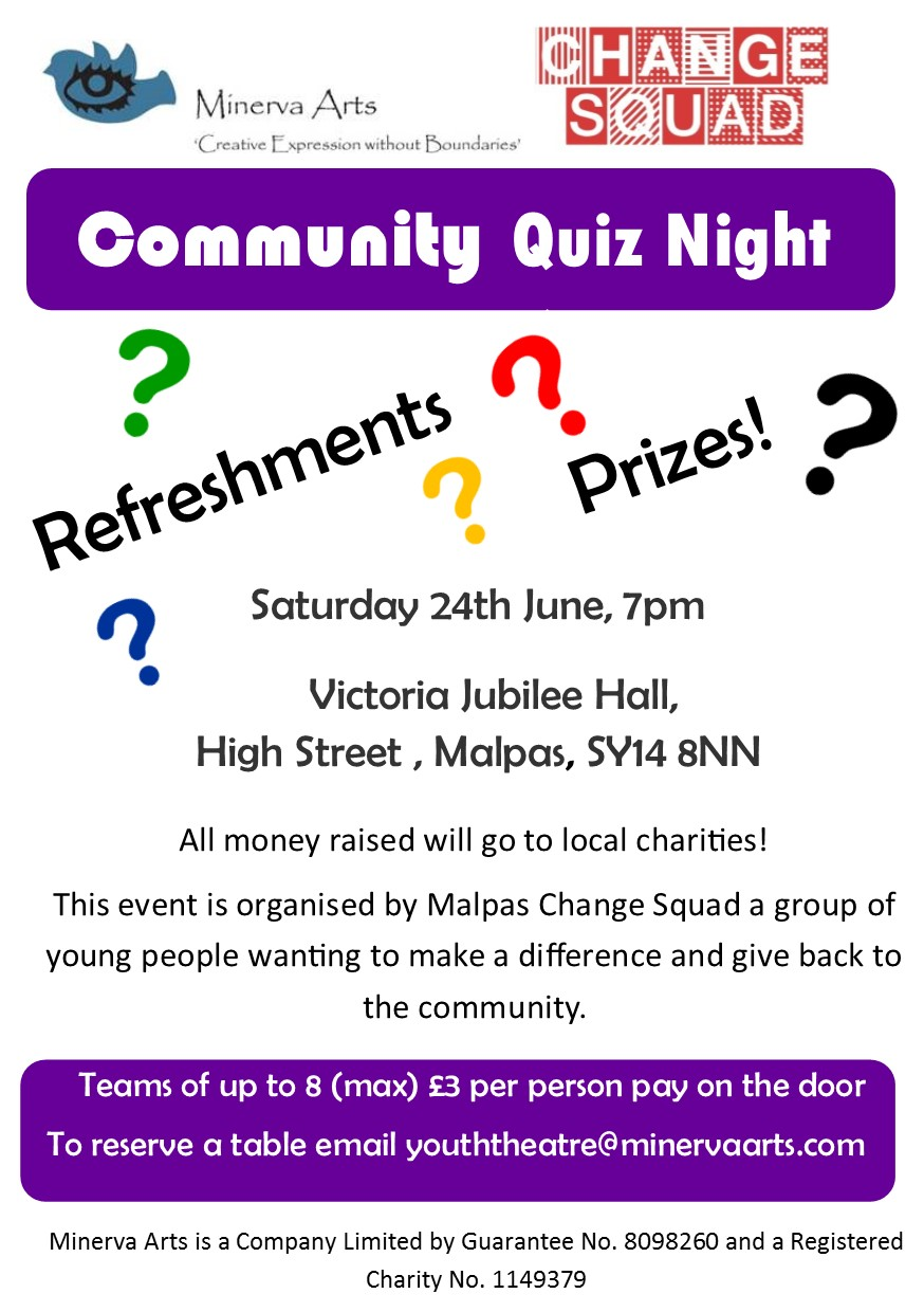 Minerva Arts Poster Quiz Night Colour
