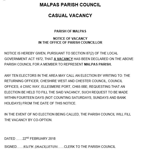 Parish Council vacancy