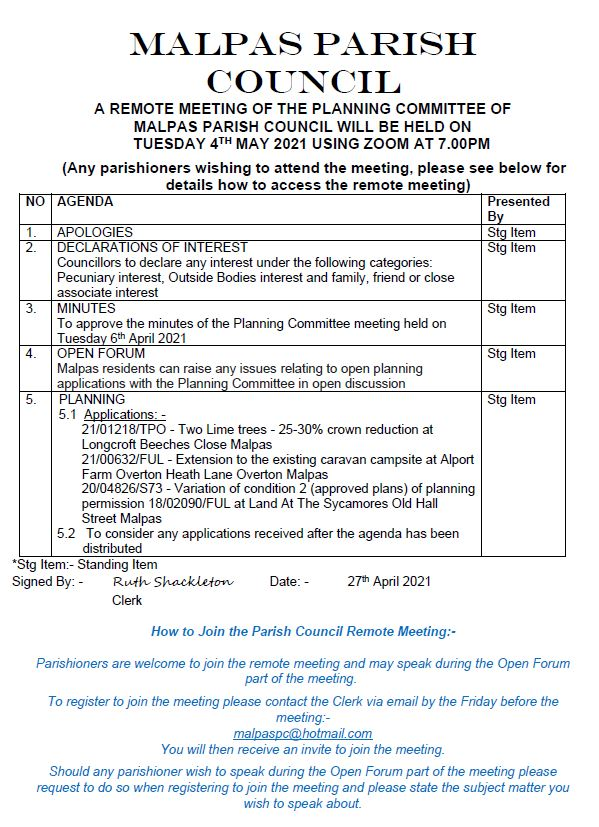 Planning Committee Agenda 4th May